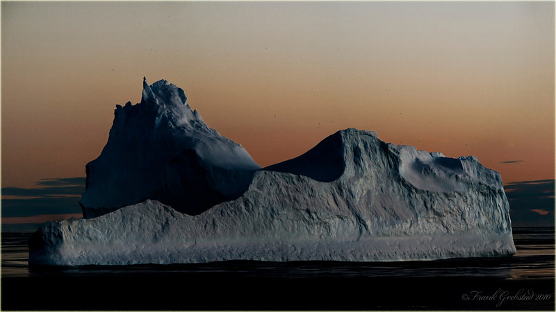 Sunrise on a very rare winter morning in Antarctica