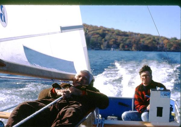 "John Koeck driving, Ed Knuth ""sailing"", Testing a sail/mast combo"