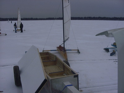My trailer and iceboat on the ice ... very handy ... where's my lunch?
