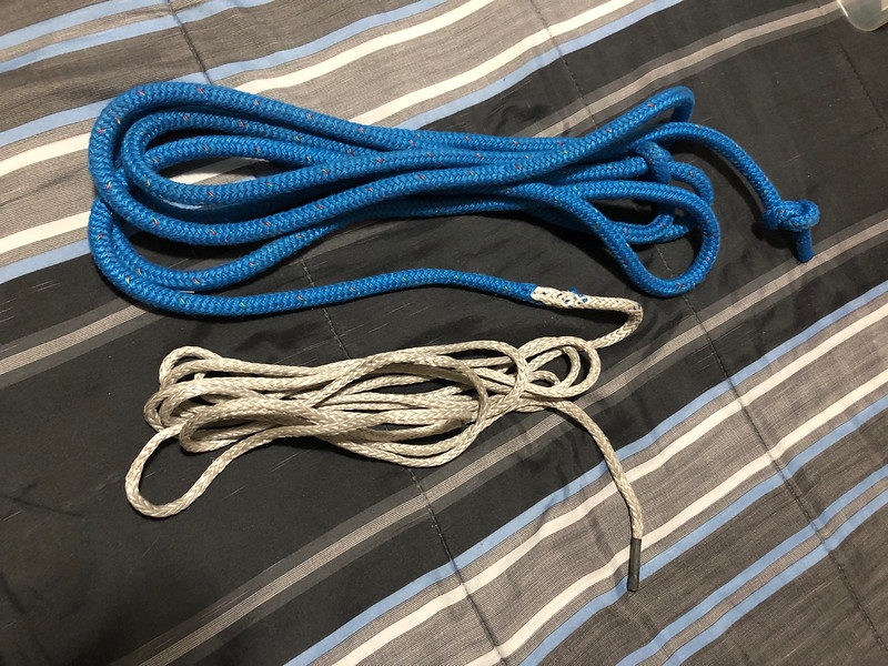 Custom Sheet: two sizes of rope are spliced together ... easy pull on the rope, like power steering!  Allows quick easing off a dangerous hike.