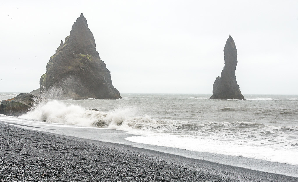 Rock formations along the black beaches