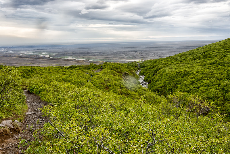 Hiking down the trail from Svartifoss-in rain