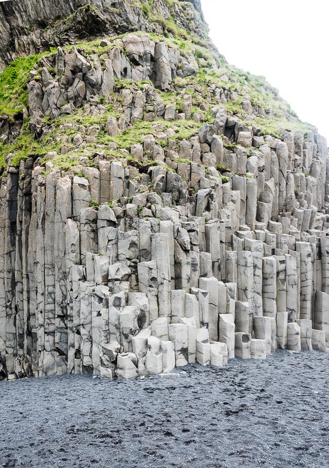 Columnar basalt rock and black beaches