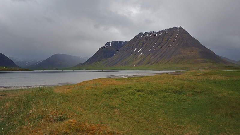 Fjord and mountains near the fishing town of Thingeyri.