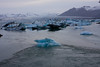 Glacial ice being washed out to sea at Jokulsarlon Lagoon.