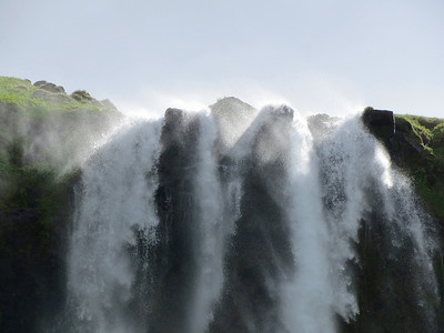 Iceland has a lot of waterfalls coming from the snowmelt from ice caps and glaciers. This is Seljalandsfoss.