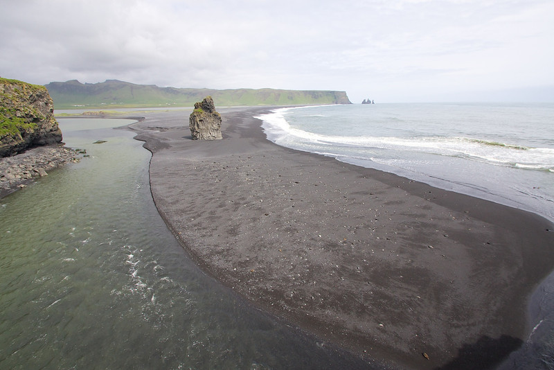 The black sand beach on the south coast of Iceland near Vik.
