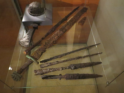 Here we have some weapons that were recovered from the Viking age. This is in the National Museum of Iceland.