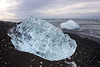 Glacial ice washed up on the black sand beach at Jokulsarlon.