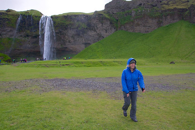 Seljalandsfoss with a Rover walking by.