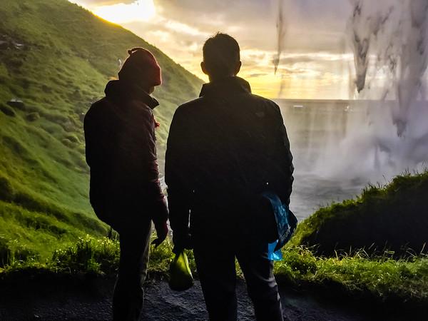 Laila and Rusty behind Seljalandsfoss
