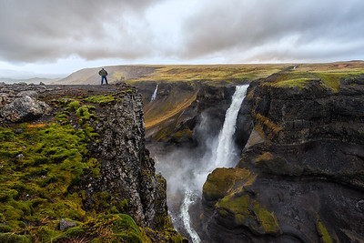 Haifoss Waterfall and Man