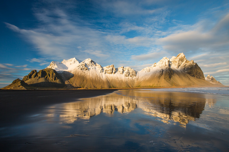 Vestrahorn Mountain under the setting sun