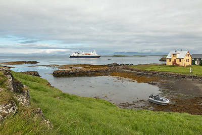 The National Geographic Explorer moored off of Flately Island in Iceland.