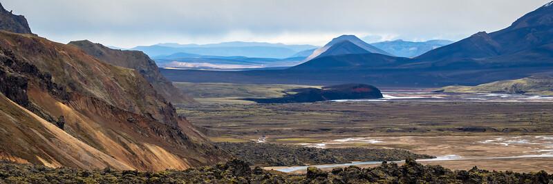 View over Jökulgil and Jökulgilsaurar seen from the Laugahraun lava field ( Landmannalaugar)