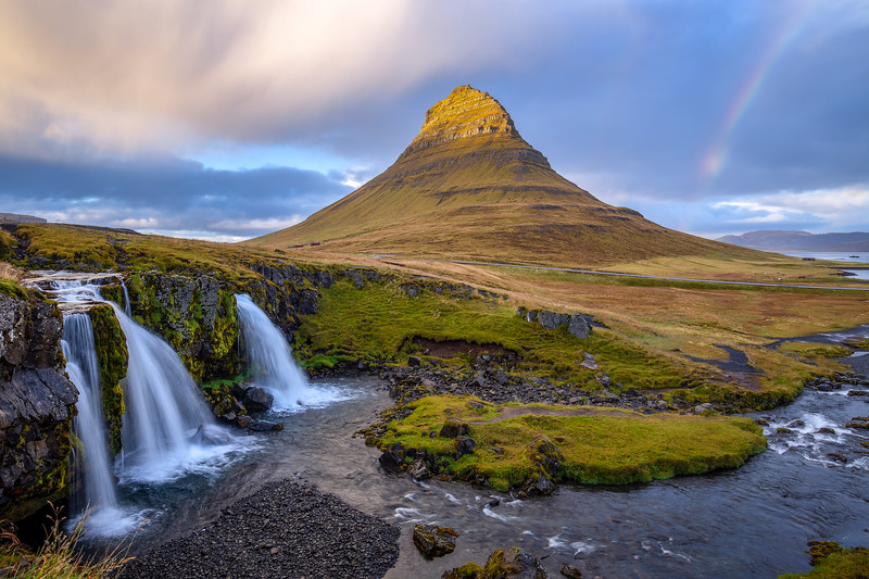 Mount Kirkjufell and the Kirkjufellsfoss waterfall
