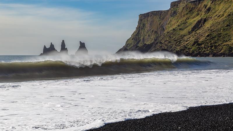 Reynisdrangar seen from the beach of Vík í Mýrdal