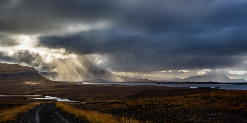 View on Álftafjörður from Snæfellsnesvegur (or Road 54 in West Iceland on the Snæfellsnes Peninsula)