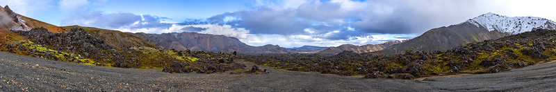 View over the Laugahraun obsidian lava field at the foot of Brennisteinsalda (Landmannalaugar)