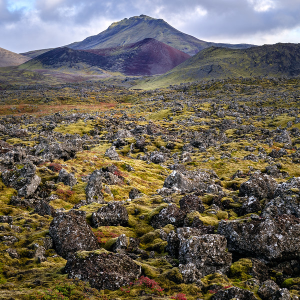 The Berserkjahraun lava field with the Kothraunskúla (red crater)