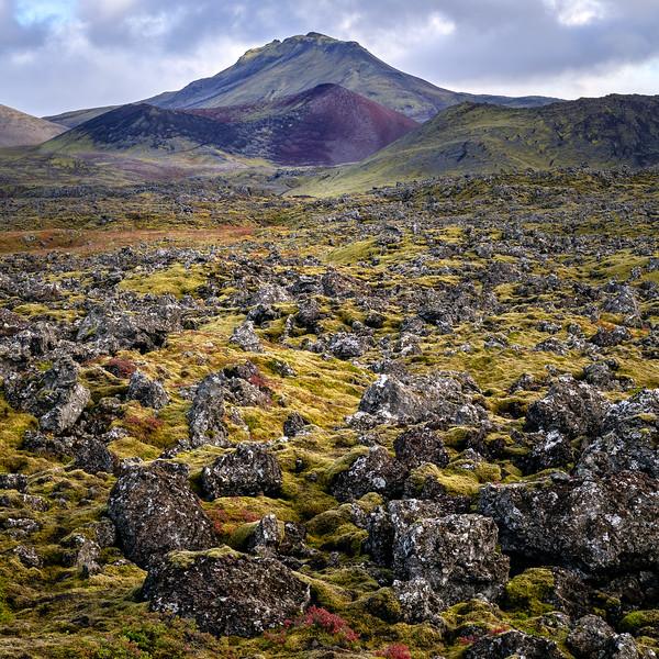 The Berserkjahraun lava field with the Kothraunskúla (red crater)