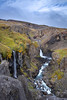 The Hengifossárgil gorge towards Litlanesfoss and Hengifoss (top left in the background)
