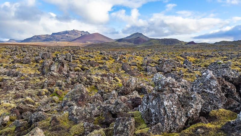 The 4000 year old Berserkjahraun lava field (view from Snæfellsnesvegur, or Road 54, between Stykkishólmur and Grundarfjörður)