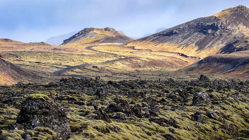 Landscape in Reykjanesskagi or Reykjanes Peninsula (with Vigdísarvallavegur towards Reykjanesfólkvangur)