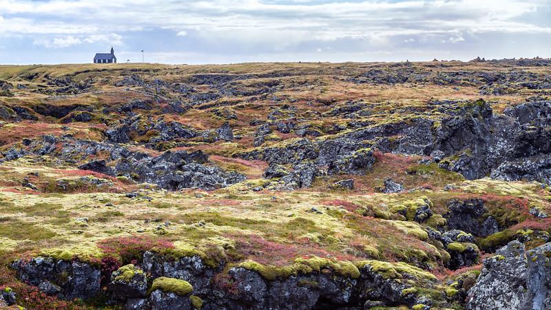 Búðahraun lava field with Búðakirkja