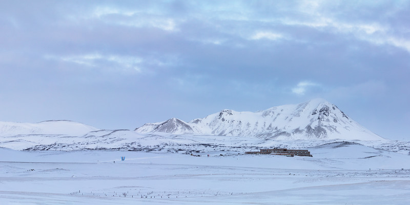 Fosshotel and Hlíðarfall peak near lake Mývatn