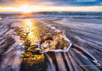 Sunrise on Diamond Beach in Iceland