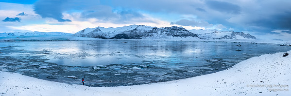 Panorama of Glacier Lagoon in the early morning
