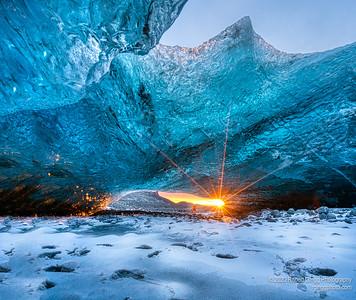 Inside a glacier Ice cave.