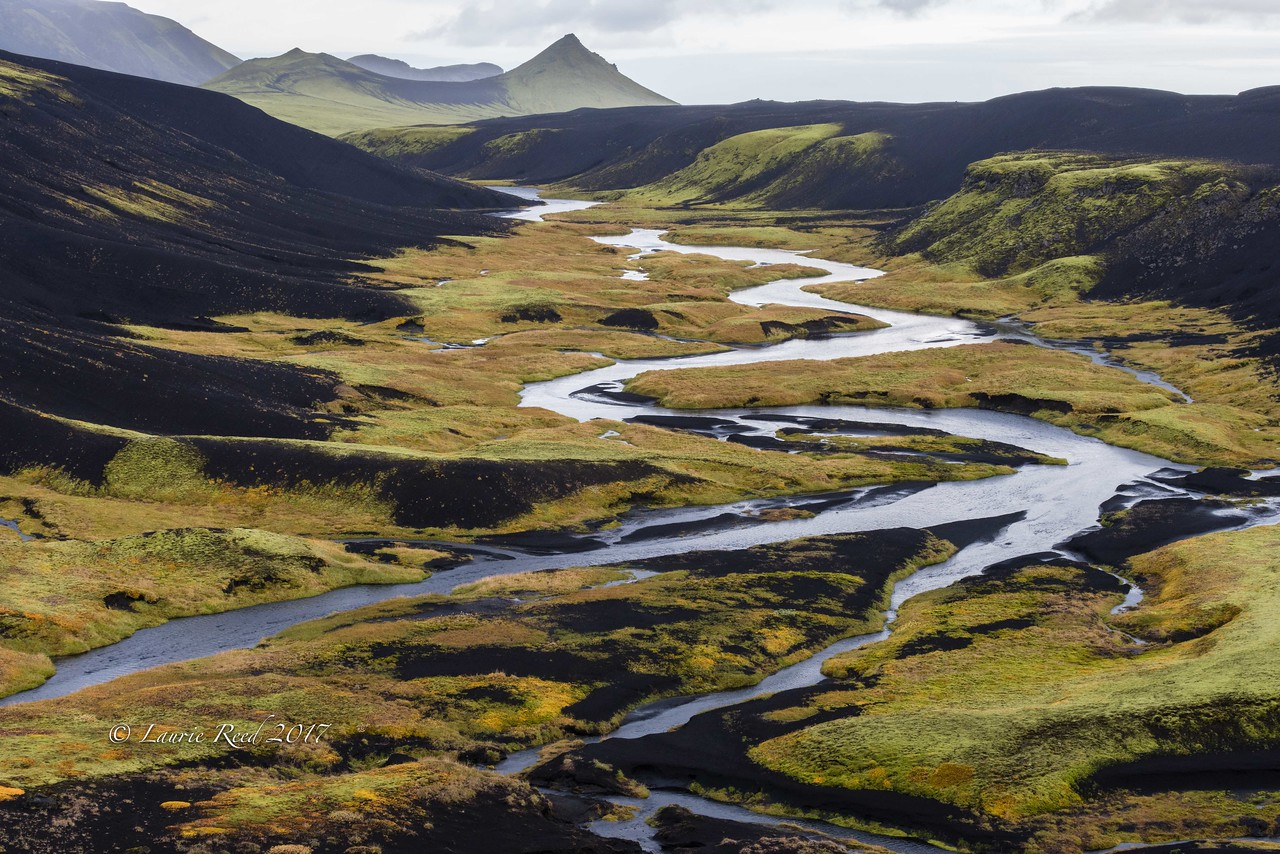 Meandering river in the volcanic highlands above Grafarkirkja