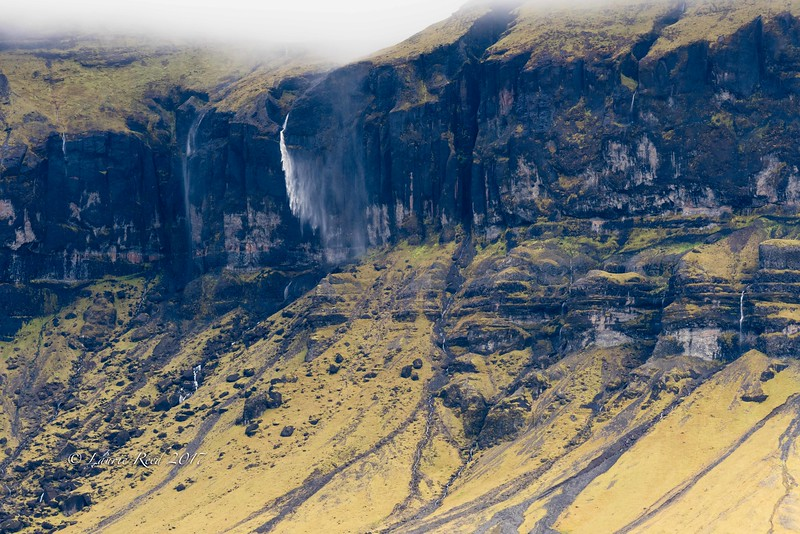 Windblown waterfall