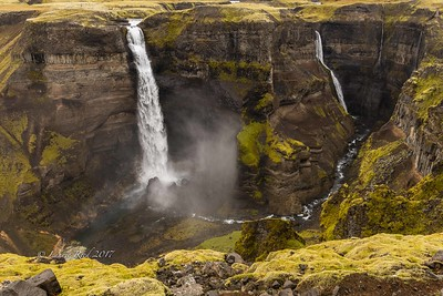 Haifoss in its canyon with companion waterfalls, north of Mt. Hekla