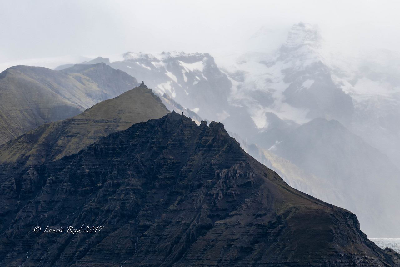 Ice and mountains in Vatnajökull National Park along the south coast