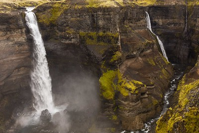 Details in Haifoss and its companion falls north of Mt. Hekla