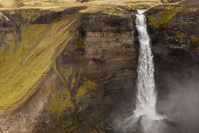 Haifoss and its canyon and companion falls, north of Mt. Hekla