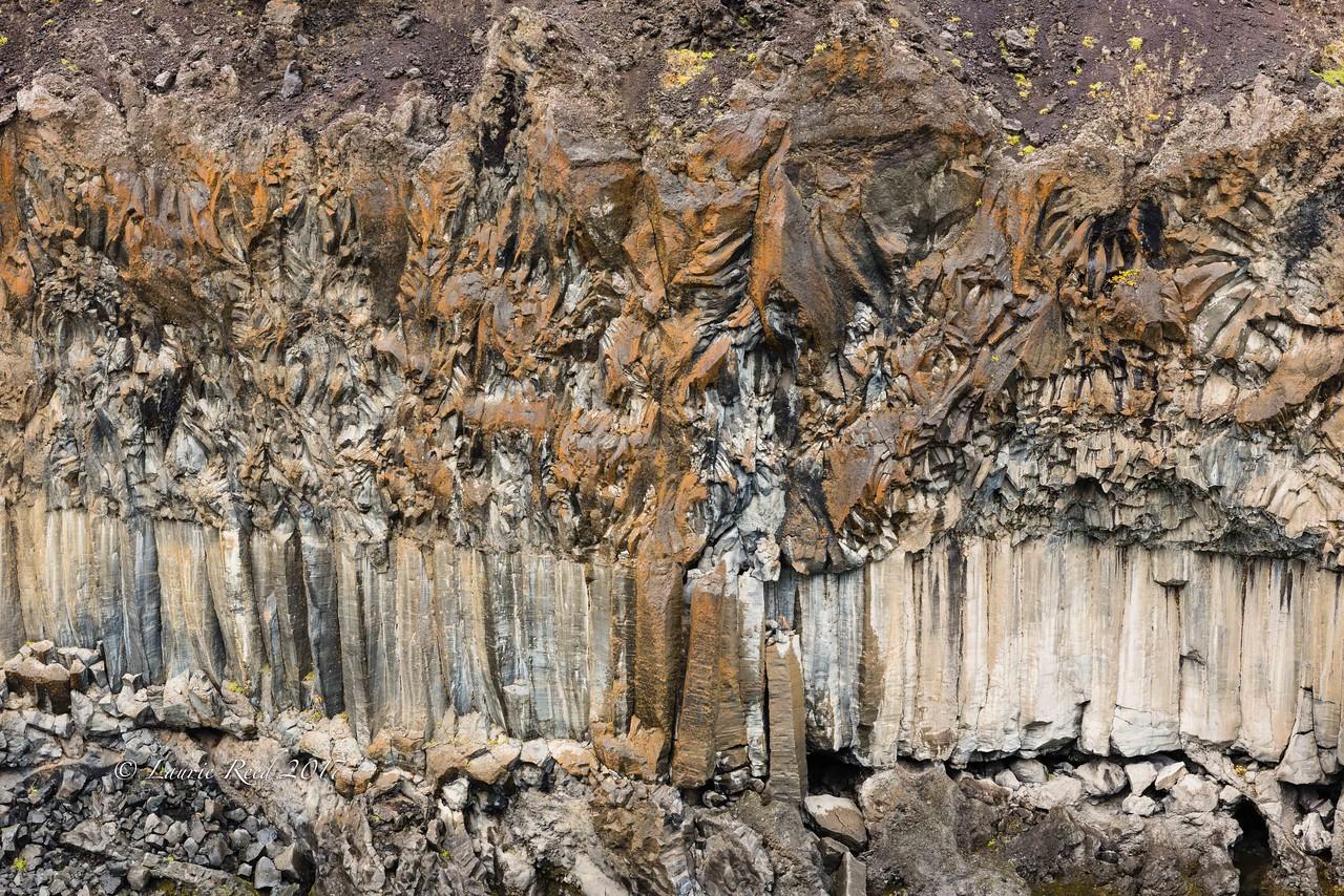 Details in the basalt columns and layers at Aldeyjarfoss