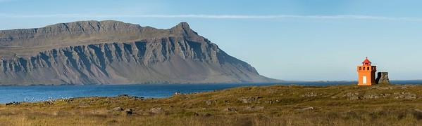 Looking north across Fáskrúðsfjörður toward the hill and Vattarnesvegur