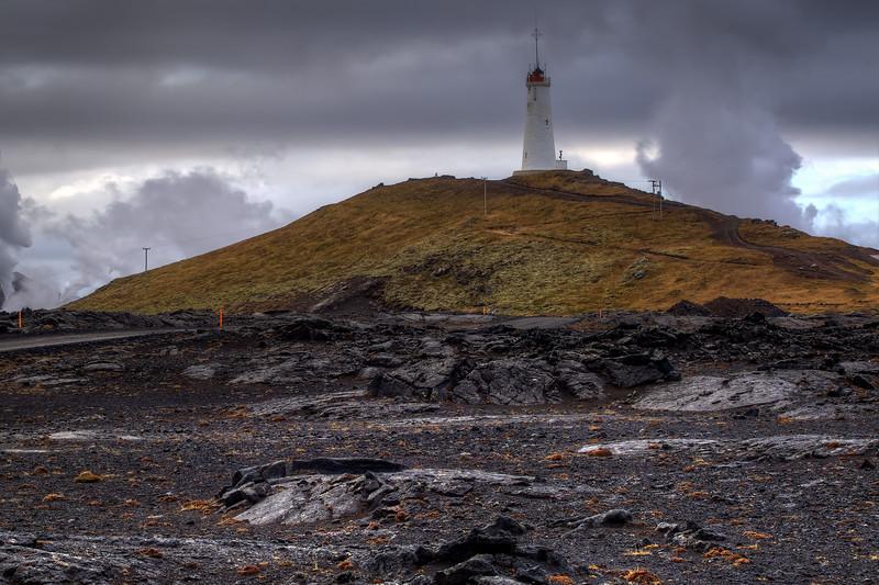 Reykjanes Lighthouse With Steam, Reykjanes Peninsula