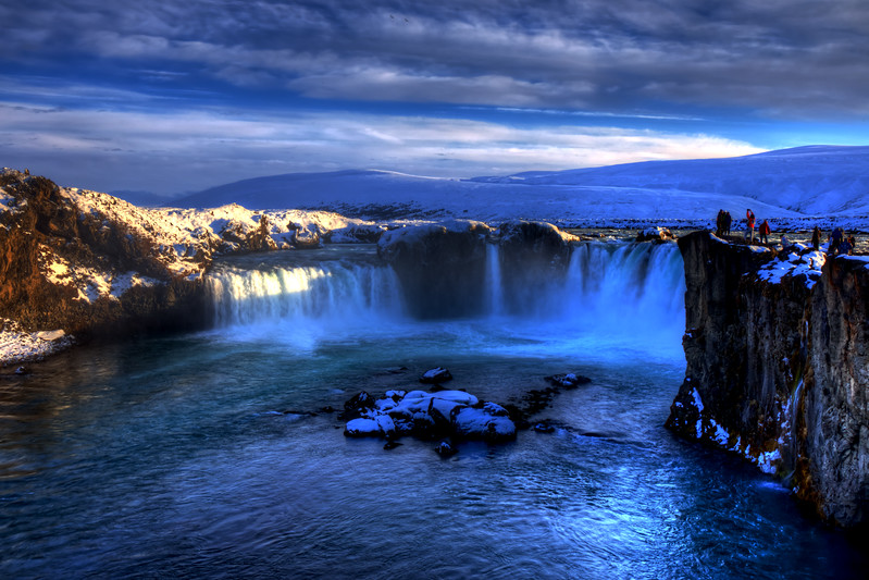 Viewing Godafoss, North Iceland