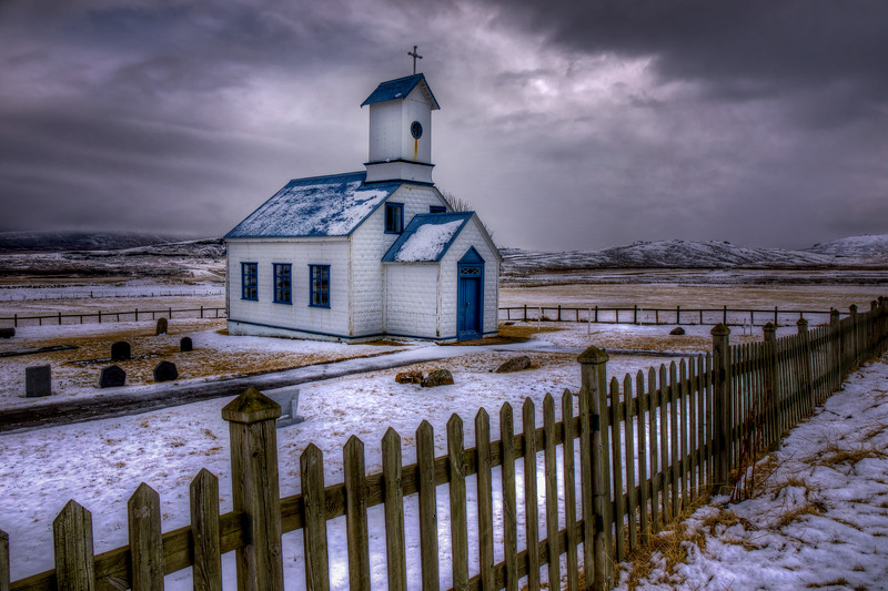 Church Behind Fence, North Iceland