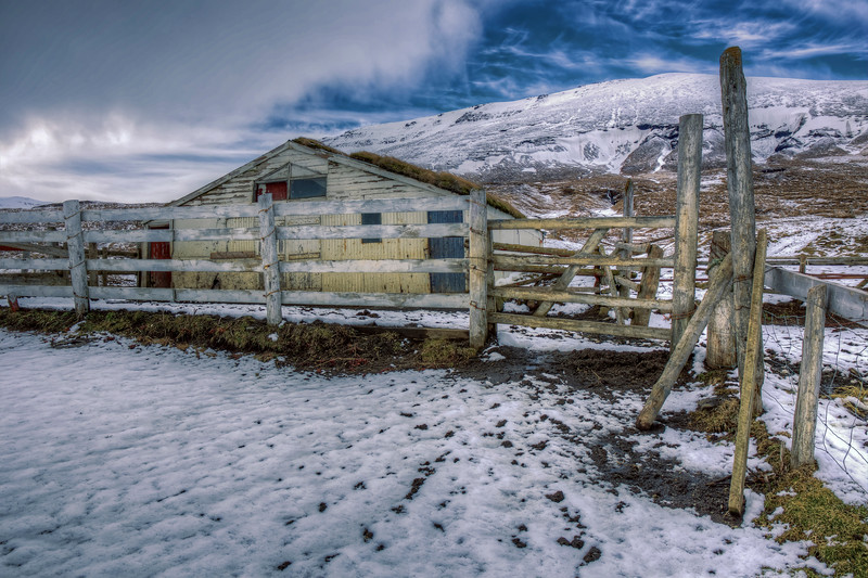 Abandoned Barn Behind Fence, North iceland