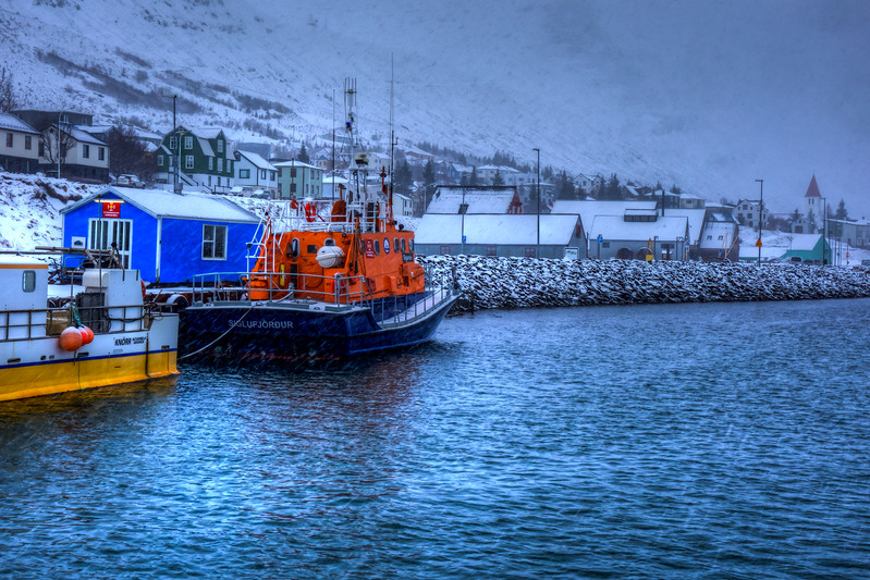 Harbor At Siglufjordur During Snowstorm, North Iceland