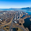 Aerial of Reykjavik and faxafloi bay
