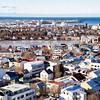 Aerial of downtown Reykjavik Iceland