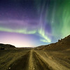 Gravel road at night