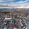 Aerial view of Reykjavik city and Esjan in winter